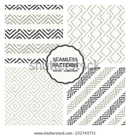 Vector set of four seamless patterns. Stylish collection with tileable swatches. Hand drawn backgrounds made with brush strokes, zigzag and rhombuses - stock vector