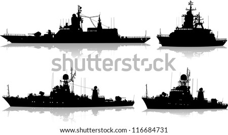 Vector set of four silhouettes of the military ship on a white background - stock vector