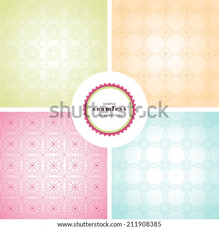 Vector set of four simple seamless backgrounds. Bright colors. - stock vector