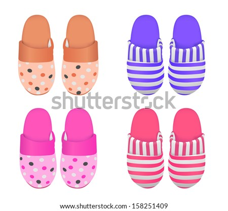 Vector set of four slippers, Eps 8 Vector, gradient mesh used - stock vector
