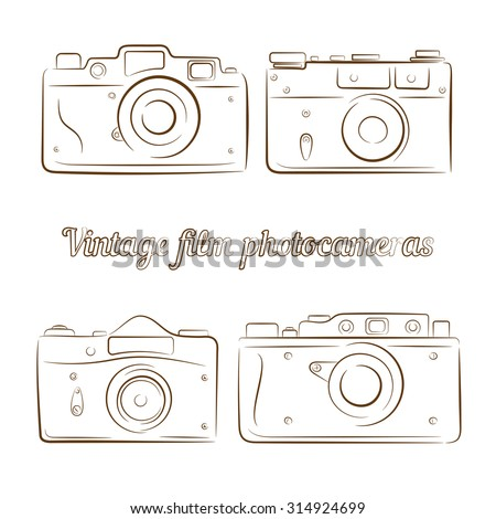 Vector set of four vintage film photocameras. Element for design, logo, studio, template and other. Live line draw style - stock vector