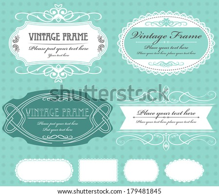 Vector set of four vintage frames on turquoise background