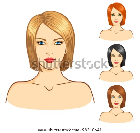 Vector set of four young women with a straight hair. Fashionable hairstyle and hair-dyeing - stock vector