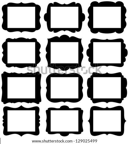 "Vector Set of Frame Silhouettes in with 8.5"" x 11"" proportion openings - stock vector"