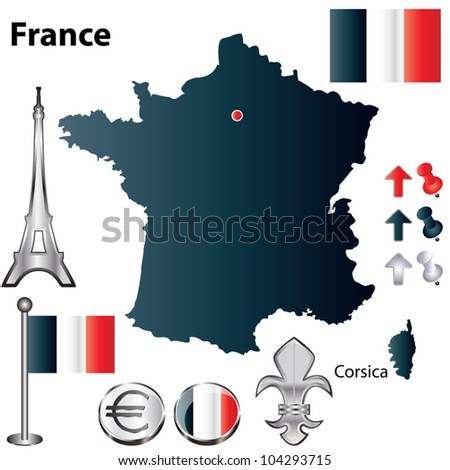 Vector set of France country shape with flags and icons isolated on white background - stock vector