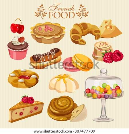 Vector set of French cuisine. National food of France. Icons for menu.