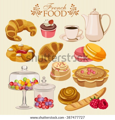 vector set french cuisine national food stock vector. Black Bedroom Furniture Sets. Home Design Ideas