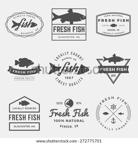 vector set of fresh fish labels, badges and design elements - stock vector