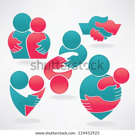 vector set of friends, hands,people and communication - stock vector