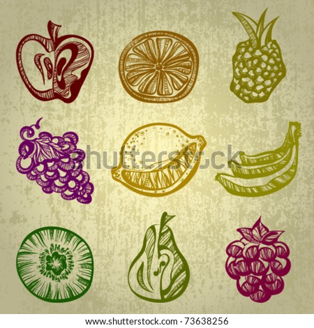 Vector set of fruit icons - stock vector
