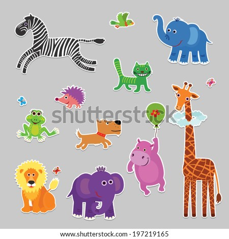 Vector set of fun, different, stylized animals. stickers - stock vector