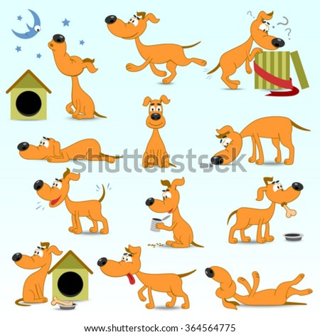 Vector Set Of  Funny Cartoon Dogs - stock vector