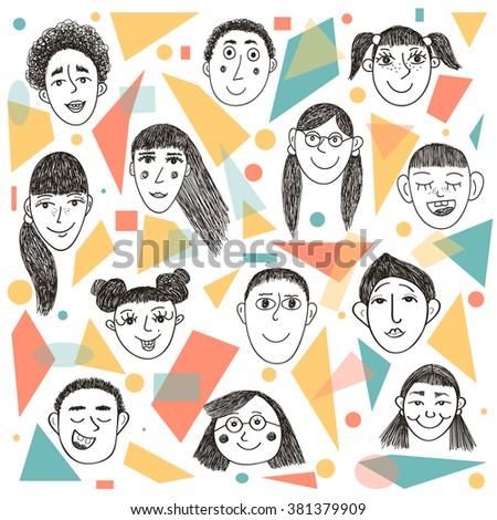 Vector set of funny children faces. - stock vector