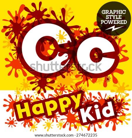 Vector set of funny children splash alphabet. Letter C - stock vector