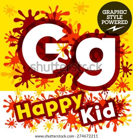 Vector set of funny children splash alphabet. Letter G - stock vector
