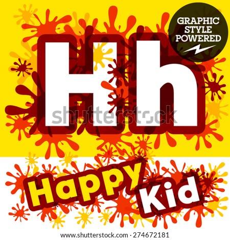 Vector set of funny children splash alphabet. Letter H - stock vector