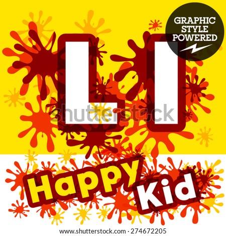 Vector set of funny children splash alphabet. Letter L - stock vector