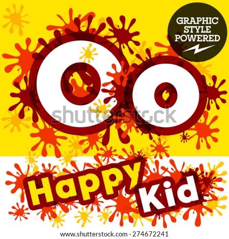 Vector set of funny children splash alphabet. Letter O - stock vector