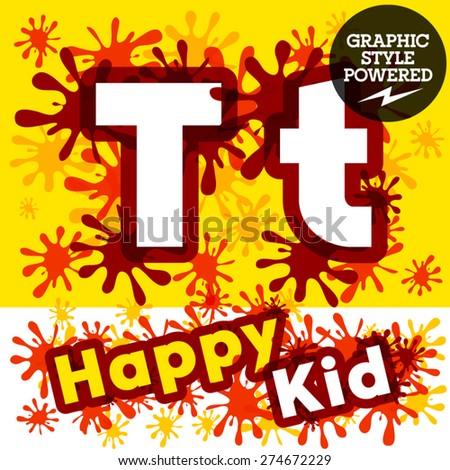 Vector set of funny children splash alphabet. Letter T - stock vector