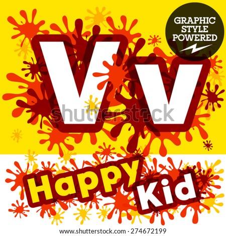 Vector set of funny children splash alphabet. Letter V - stock vector