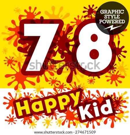 Vector set of funny children splash alphabet. Numbers 7 8 - stock vector