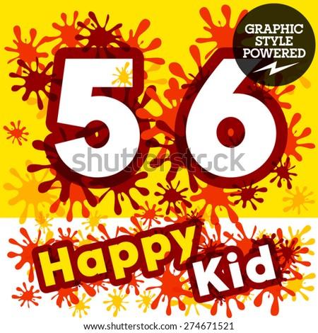 Vector set of funny children splash alphabet. Numbers 5 6 - stock vector