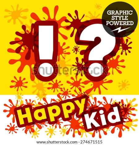 Vector set of funny children splash alphabet. Symbols - stock vector