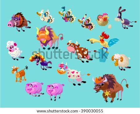 Vector set of funny cute cartoon farm animals. Big angry herd of Wild West - stock vector