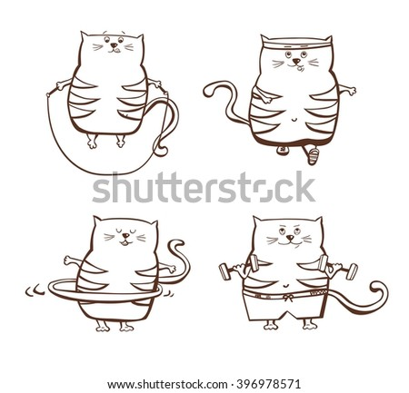 Vector set of funny fat cats doing sport exercises. Hand drawn character with fitness equipment. Cute plump kittens jumpning with rope, jogging, dancing with hula hoop and building muscles. - stock vector