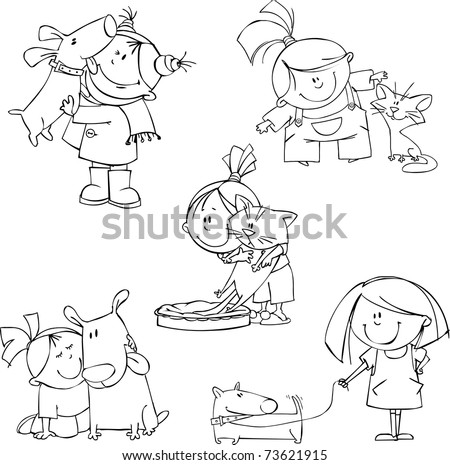 Vector set of funny girls with pets - stock vector