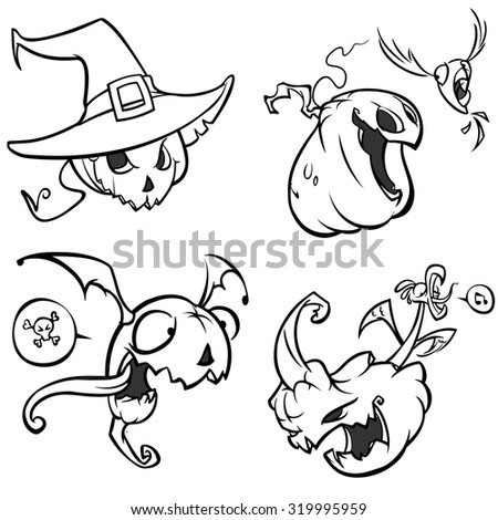 Vector set of funny Halloween pumpkins. Black outline on white isolated background - stock vector