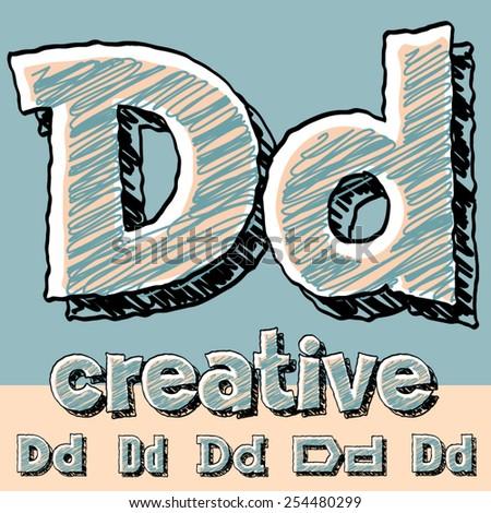 Vector set of funny sketch alphabet. Vector illustration of hand drawing font. Letter D - stock vector