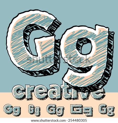 Vector set of funny sketch alphabet. Vector illustration of hand drawing font. Letter G - stock vector