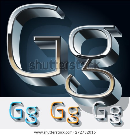 Vector set of futuristic metal silver alphabet. Letter G