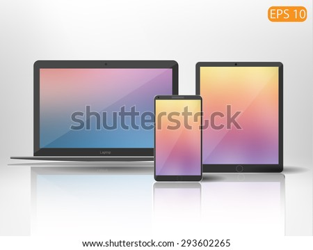 Vector set of gadgets or your design - stock vector
