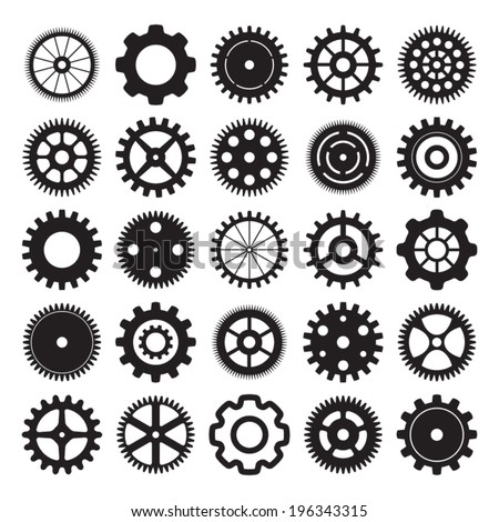 vector set of gear wheels on white background - stock vector