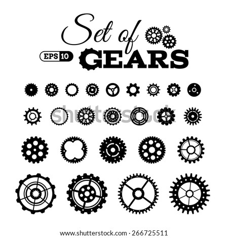 Vector set of gears. Various design elements isolated on white background. - stock vector