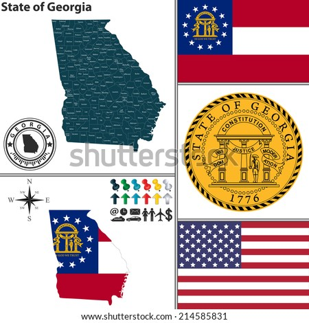 Vector set of Georgia state with flag and icons on white background - stock vector