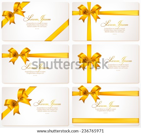 Vector set of gift cards with gold bows and ribbons - stock vector