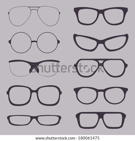 Vector Set of Glasses Silhouettes - stock vector