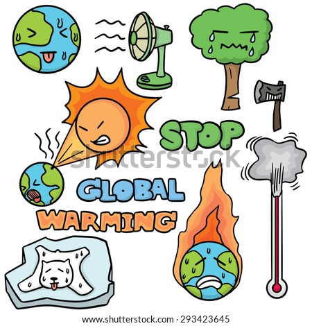 vector set of global warming - stock vector