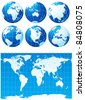 Vector set of globes and world map - stock photo