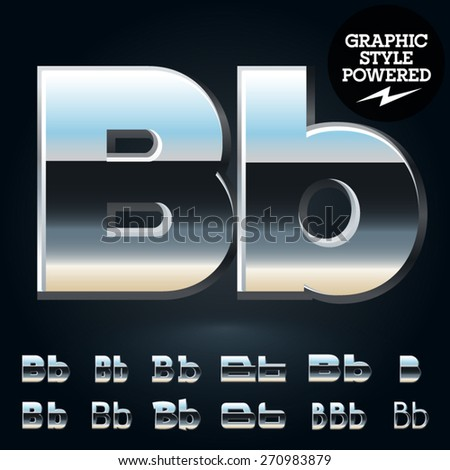 Vector set of glossy and shiny metal steel font. Letter B - stock vector