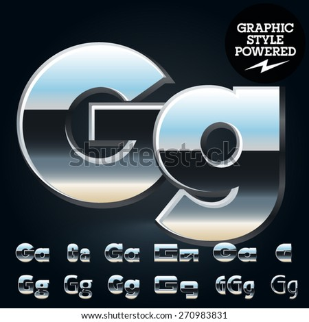 Vector set of glossy and shiny metal steel font. Letter G - stock vector