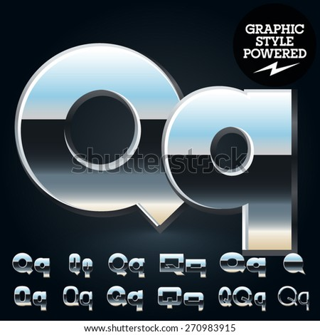 Vector set of glossy and shiny metal steel font. Letter Q - stock vector