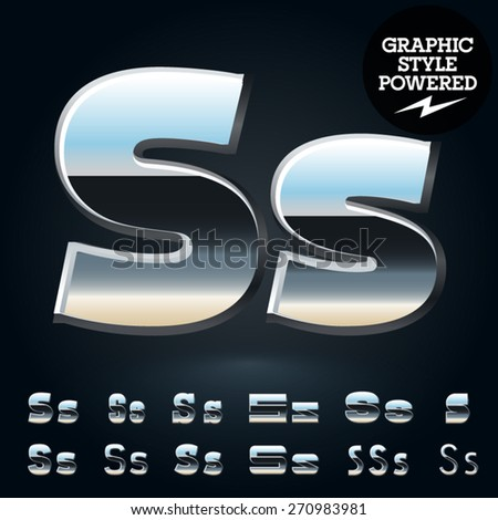 Vector set of glossy and shiny metal steel font. Letter S - stock vector