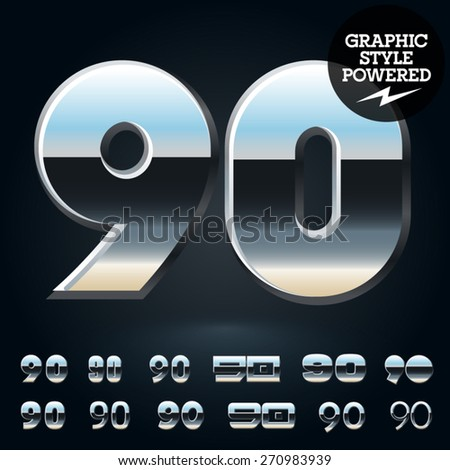 Vector set of glossy and shiny metal steel font. Numbers  9 0 - stock vector
