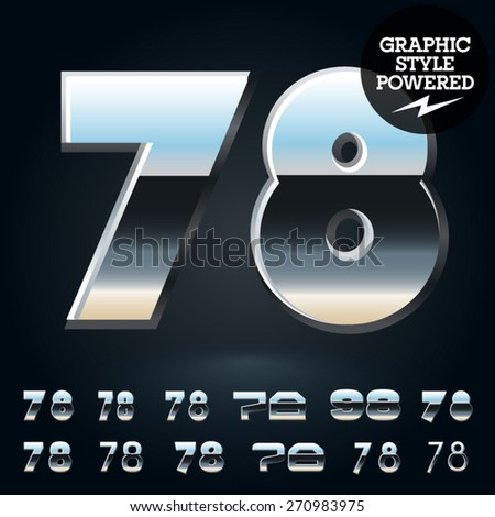 Vector set of glossy and shiny metal steel font. Numbers 7 8 - stock vector