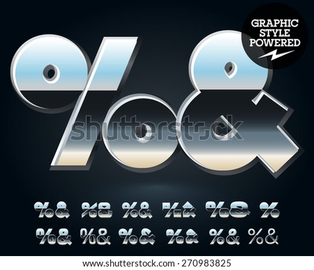Vector set of glossy and shiny metal steel font. Symbols - stock vector