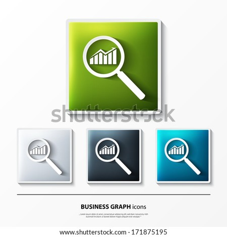 Vector set of glossy icons on button with business graph. - stock vector